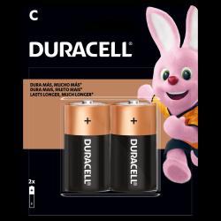 2 pilhas médias ALCALINAS da DURACELL de 1.5V tamanho C